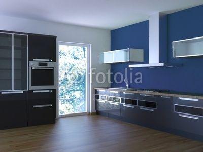 Zwarte keuken met blauwe achterwand: NIET mooi...