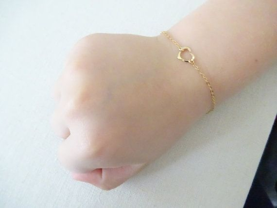 Baby girl heart bracelet Toddler jewelry Girls bracelet in 14k