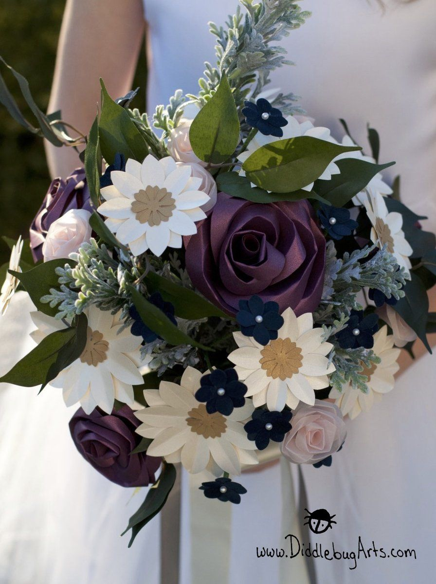 Ramonas Bouquet Paper Roses And Daisies With Silk Greenery