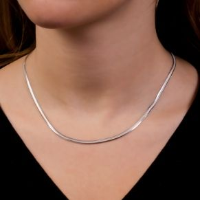 Sterling silver necklace. Flat, more robust snake skin chain.