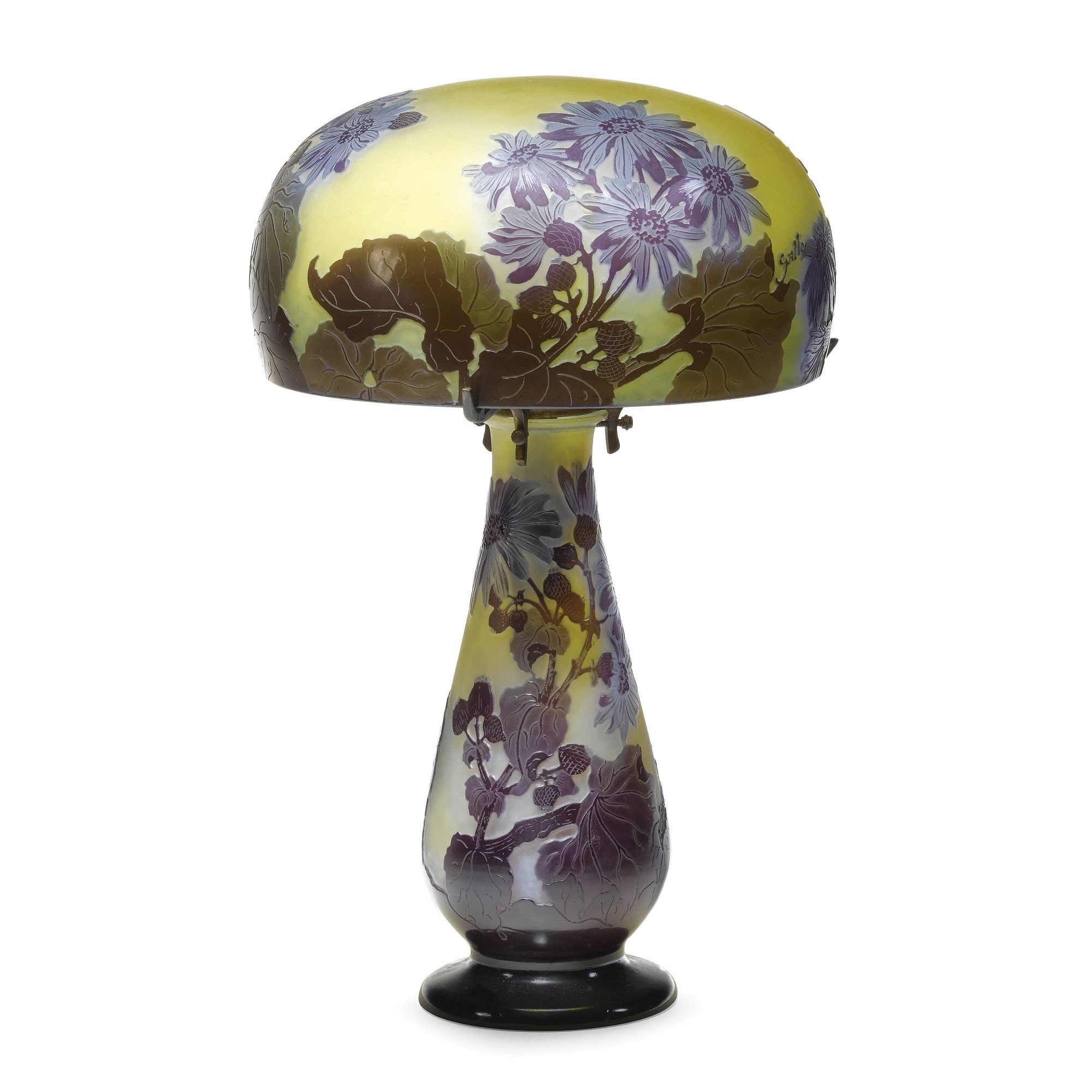 EMILE GALLÉ A BLUE DAISIES LAMP internally decorated cameo glass, bronze mount shade and base with cameo mark `Gallé' 34.7cm.; 1ft 1¾in. circa 1900