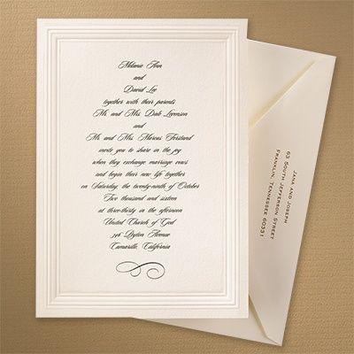 ecru embossed triple borders invitation invitations paper goods