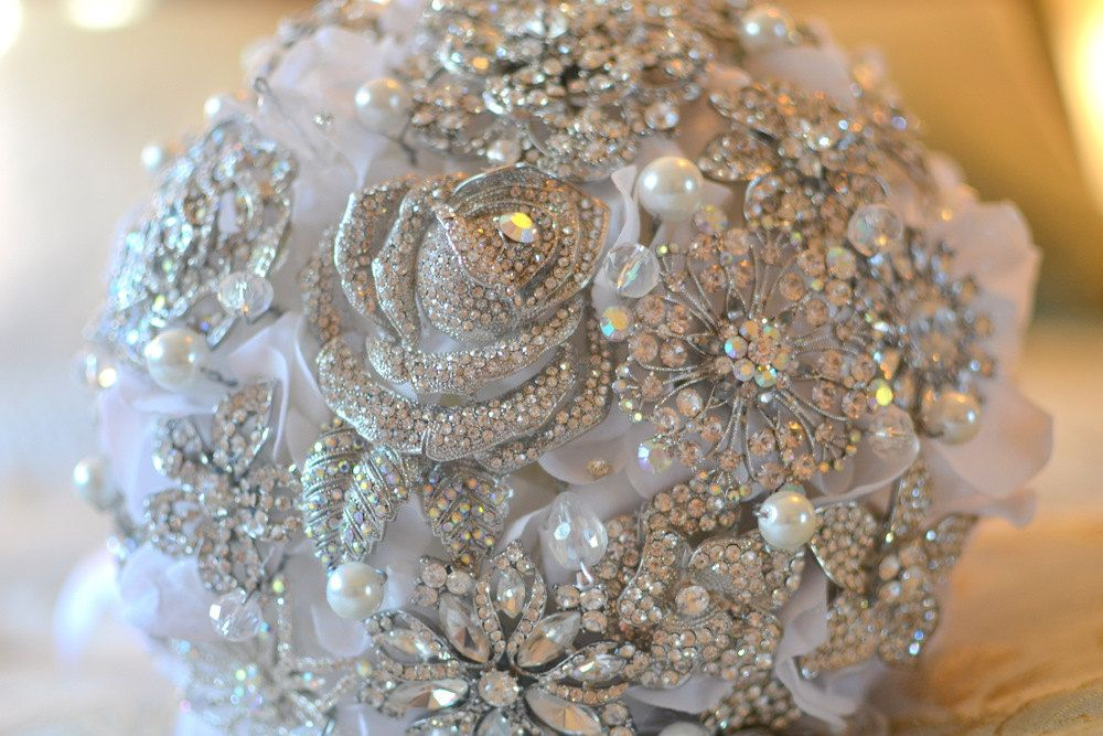 Crystal Rose Brooch Jeweled Bouquet
