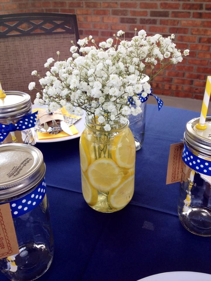 Yellow and navy bridal shower brunch centerpiece our Wedding shower centerpieces