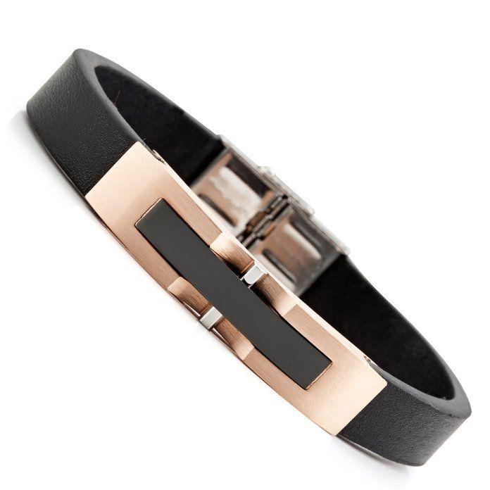 Supreme Bronze Stainless Steel Genuine Leather Mens Bracelet | RnBJewellery