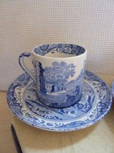 Copeland Spode Blue Italian 2 X Small Espresso Size Coffee Cups Saucers
