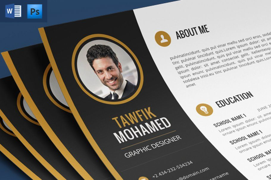 Anaka psd one page template in 2020 creative resume