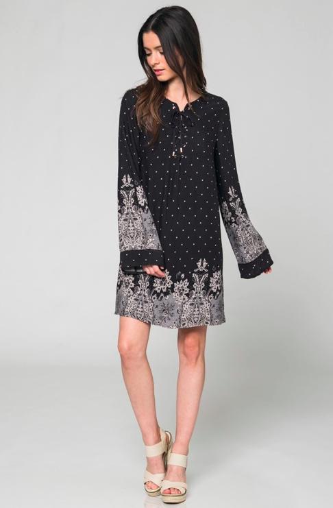 e84cc0d4f57d Ashbury Bell Sleeve Floral Print Shift Dress