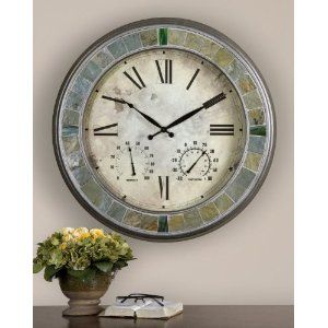Large Indoor Outdoor Patio Wall Clock Slate Stone Thermometer