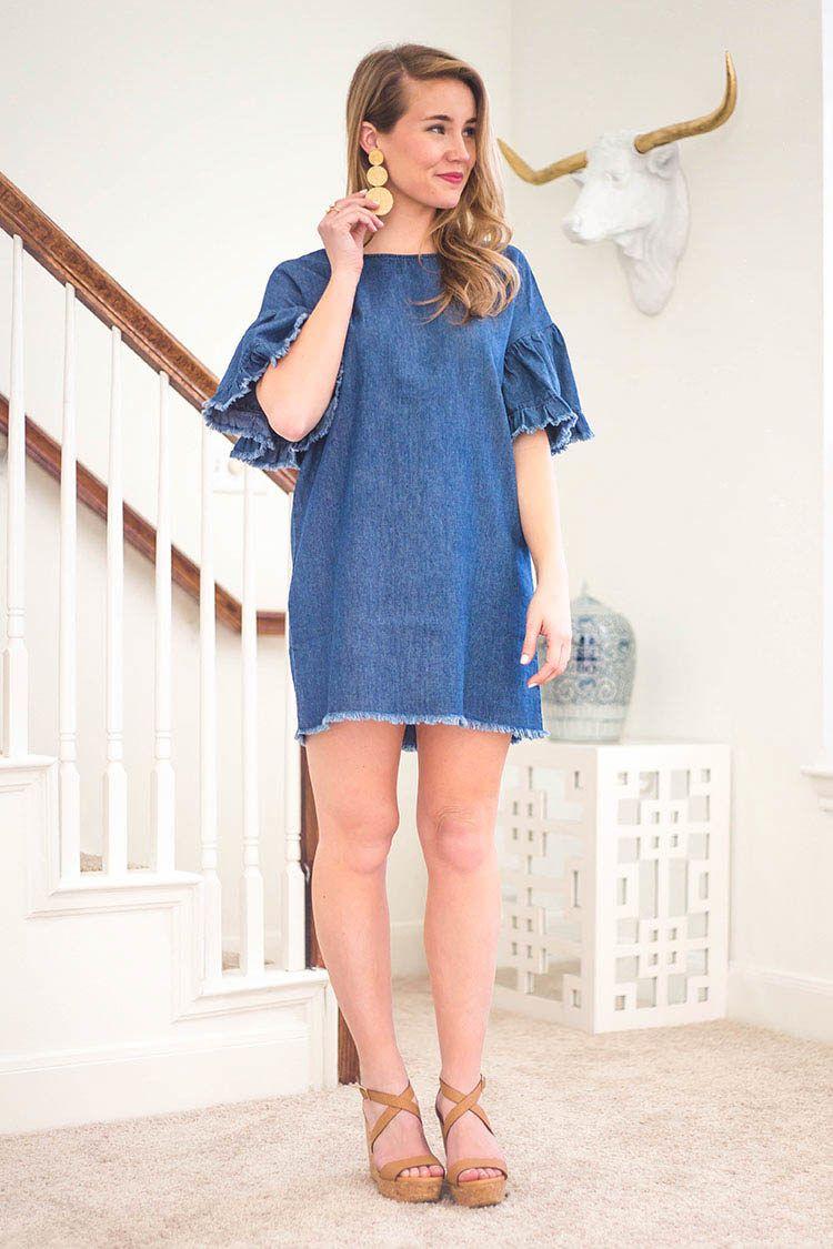 35 Denim Ruffle Sleeve Dress A Lonestar State Of Southern Dresses Ruffle Sleeve Dress Affordable Denim [ 1125 x 750 Pixel ]