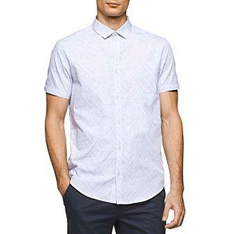 Calvin Klein Men's Short Sleeve Dobby Stripe Shirt