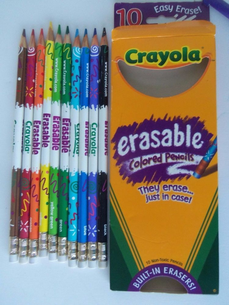 Crayola Erasable Colored Pencils Set Of 10 Brilliant Colors Easy