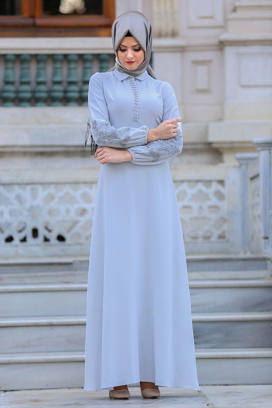 Bağlama Detaylı Tesettür Elbise Modelleri