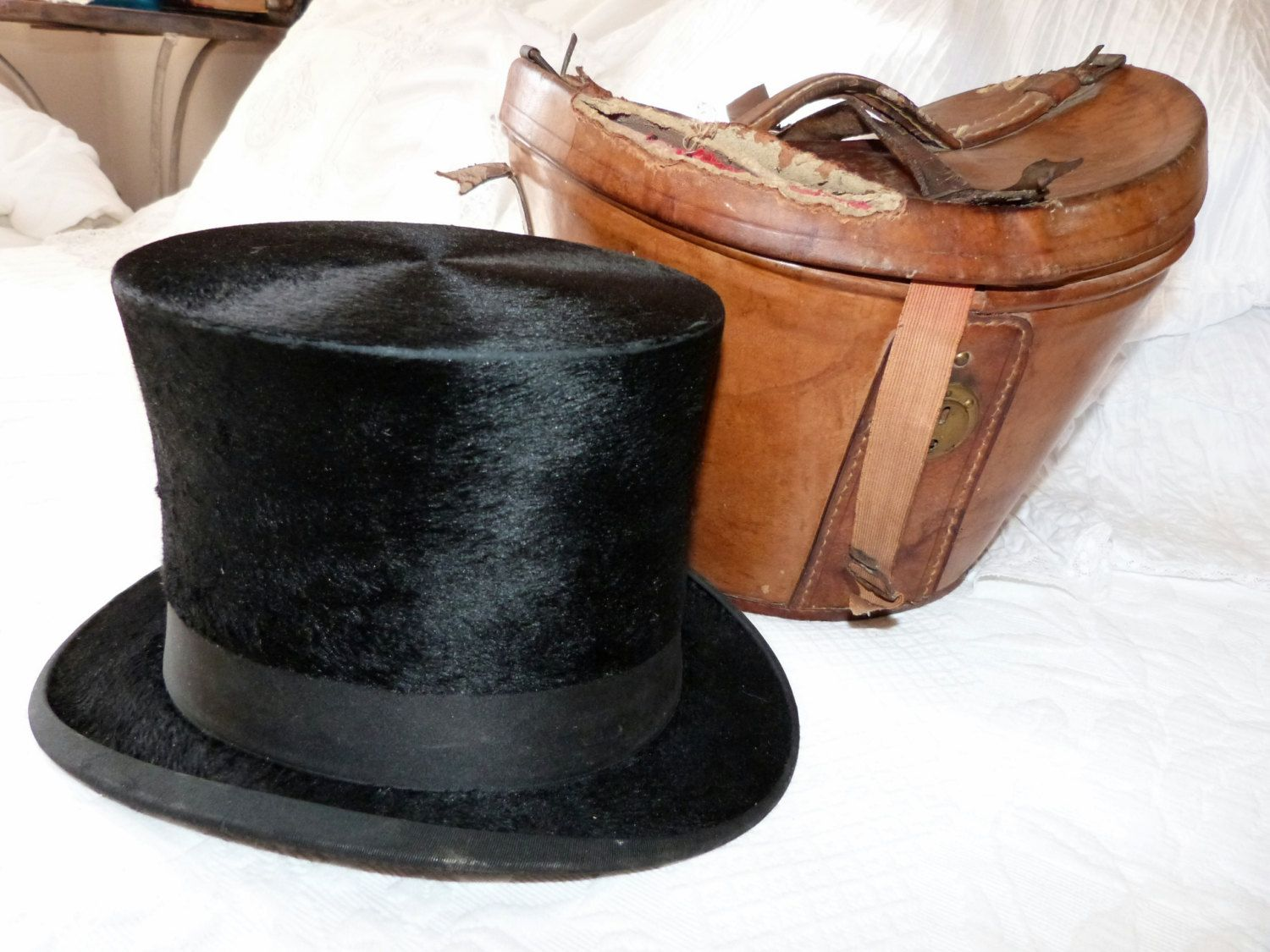 Antique French Beaver Top Hat W Traveling Leather Hat Box W Etsy Leather Hats Top Hat Leather Handle