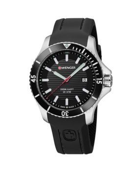 Wenger Black Mens Swiss Seaforce Black Silicone Strap Watch