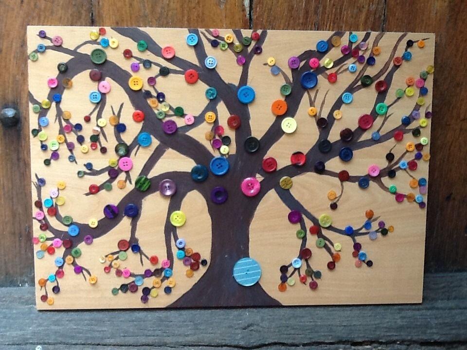 tableau d coratif arbre boutons multicolores d corations murales par lacaverne89 tableau. Black Bedroom Furniture Sets. Home Design Ideas