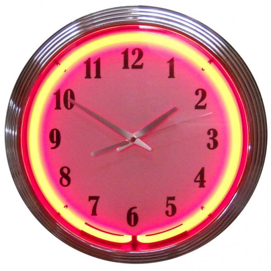 Neonetics Chrome Red Neon Clock Chrome Red Neon Clock Neon Clock Clock Wall Clock