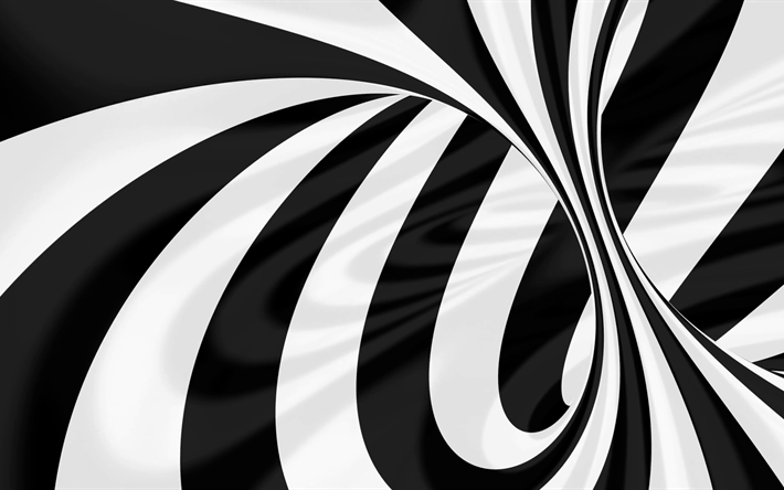 Download Wallpapers Vortex 4k Black And White 3d Art Lines Art 3d Art Black And White