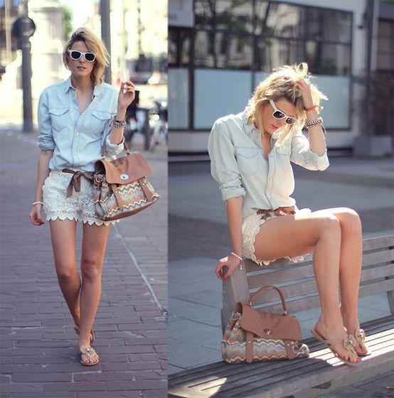 Women's Light Blue Denim Shirt, White Lace Shorts, Tan Thong ...