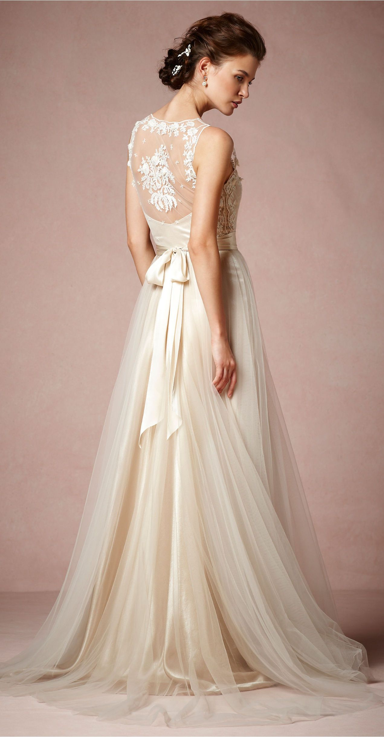 Catherine Deane Rose Embroidered Ivory Tulle and Silk Wedding