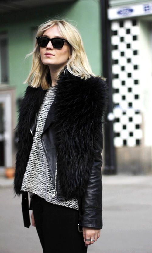 Josefin Dahlberg in sunglasses, a fur scarf, leather jacket & textured sweater #style #fashion #sewdishblogger