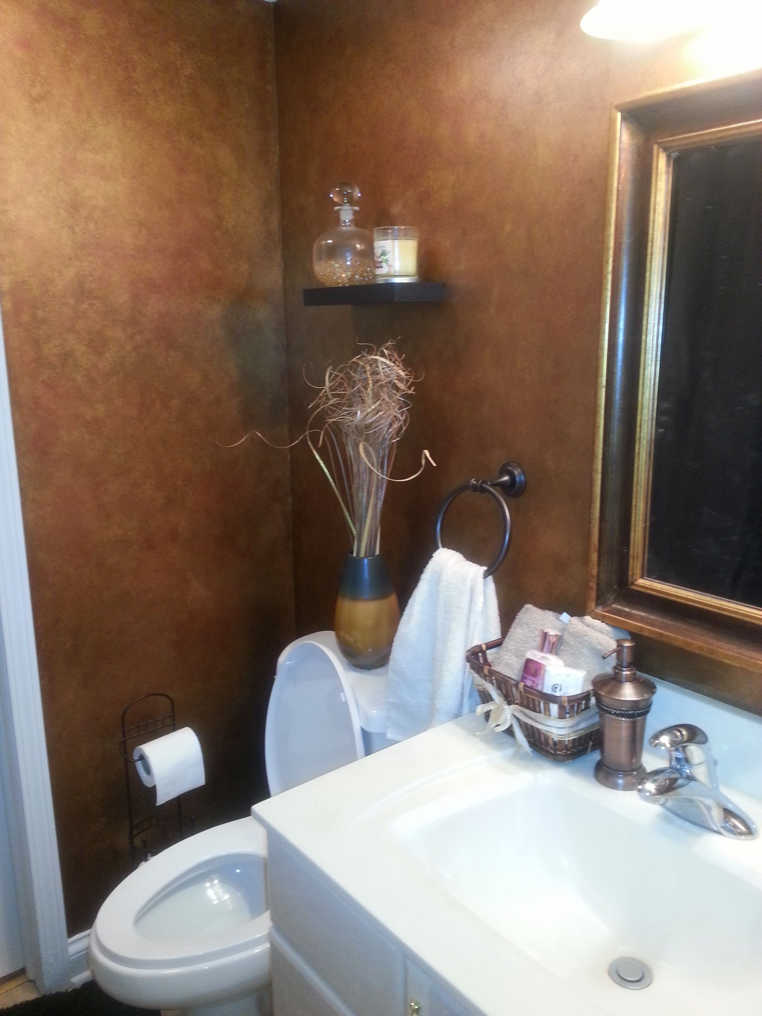 Powder room. Sponge painted with metallic gold and copper ...