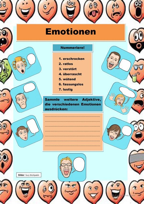 Emotionen | Hallo, Kinder, wir lernen Deutsch | Pinterest