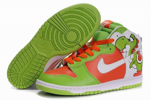 Buy Cheap Nike Sneakers Nike Dunk SBNew High Cut Mens Shoes Brass Mdnki green orange white