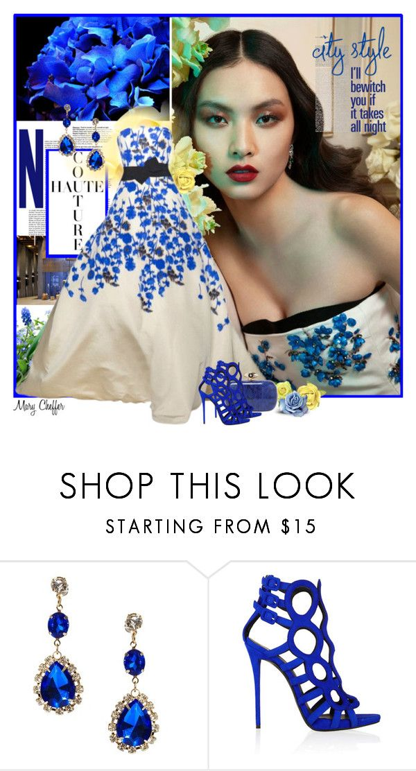 """""""Blue Blossoms"""" by mcheffer ❤ liked on Polyvore featuring Bloch, Hai, Chanel, Giambattista Valli, ASOS, Giuseppe Zanotti, white, Blue, floralprint and gown"""