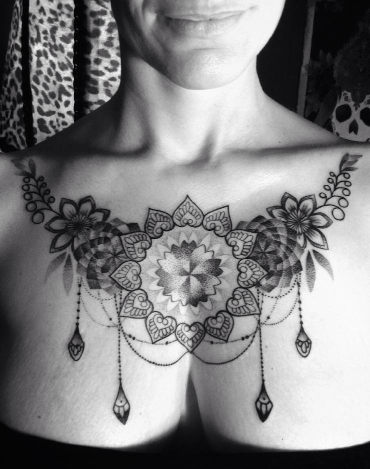 Baroque Chestpiece For Women Design Of Tattoos Chest Tattoos For Women Chest Piece Tattoos Body Tattoo Design