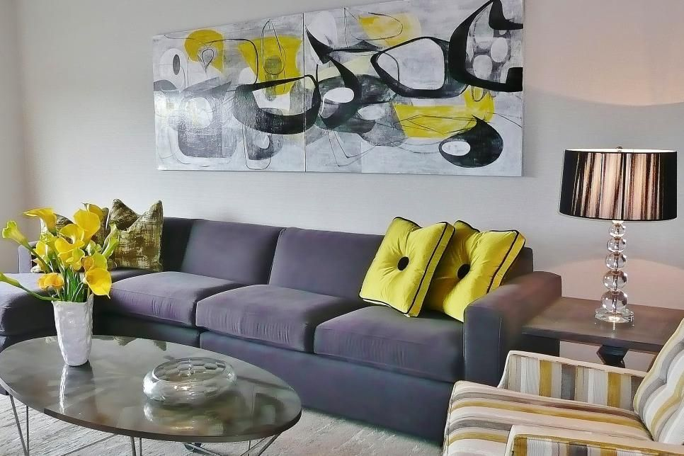 Pin On Apartment Living Room #yellow #grey #and #black #living #room