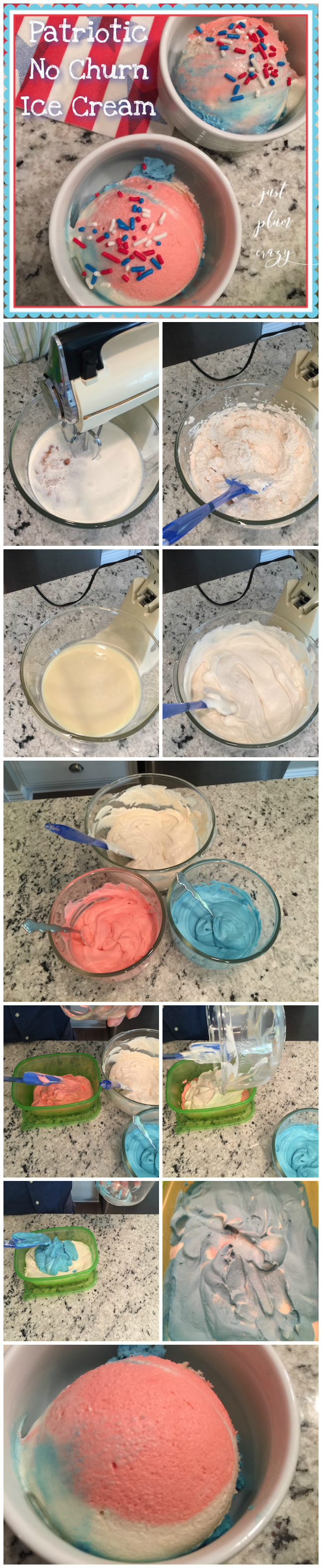 Today we are making a Patriotic No Churn Ice Cream recipe. It's vanilla flavor but you can make it any flavor that you'd like. Perfect for the holidays!