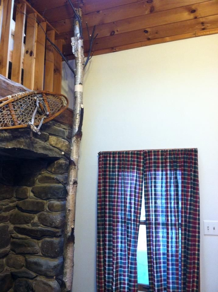 Birch Tree Coat Rack  -My husband did this with a fallen tree at our camp.