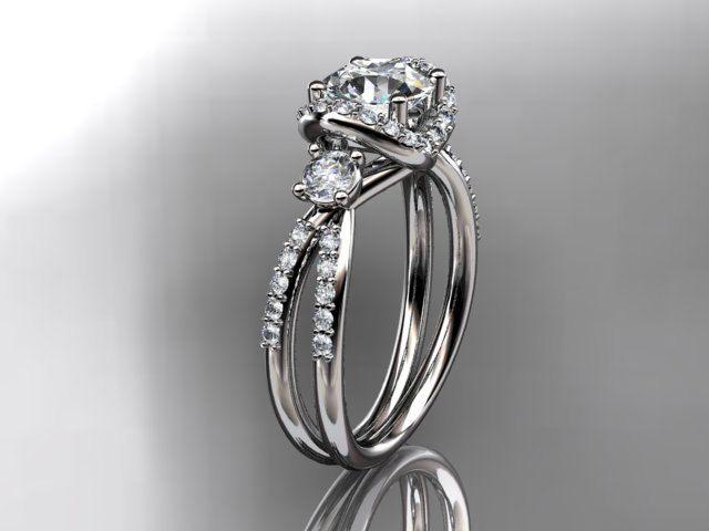 14kt White Gold Diamond Unique Engagement Ring Wedding Ader146 1 795 00 Via Etsy