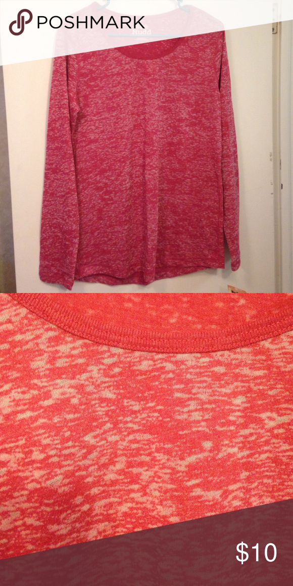 Patterned long sleeve tee It's reddish-pink in color. Brand new, tag is still attached. 55% cotton 45% polyester. Mudd Tops Tees - Long Sleeve