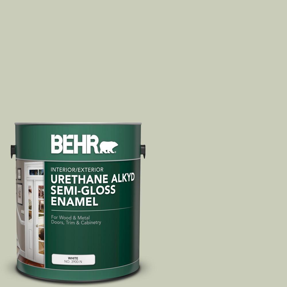 BEHR 1 gal. #S380-2 Morning Zen Urethane Alkyd Semi-Gloss Enamel Interior/Exterior Paint-390001 - The Home Depot