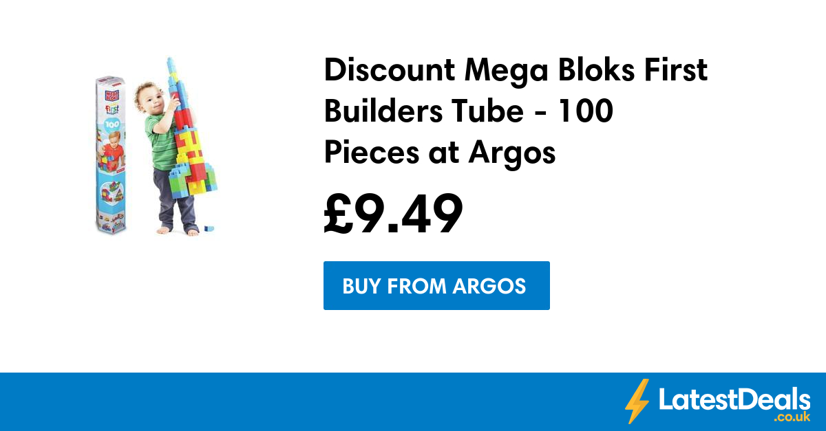 Discount Mega Bloks First Builders Tube 100 Pieces at