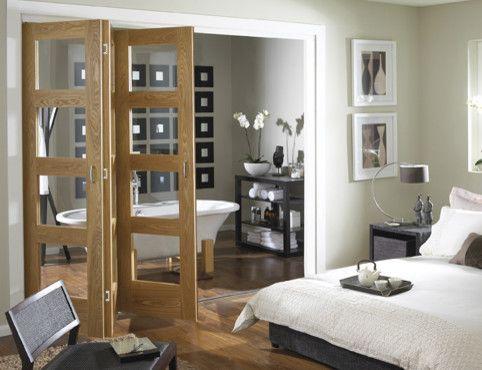 Oak 4 Light Clear Glass Folding Internal Door Contemporary Interior
