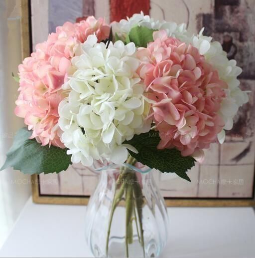 Wholesale cheap artificial flowers hydrangea online color find hydrangea flower head 47cm fake silk single real touch hydrangeas 8 colors for wedding centerpieces home party decorative flowers at discount prices junglespirit Images