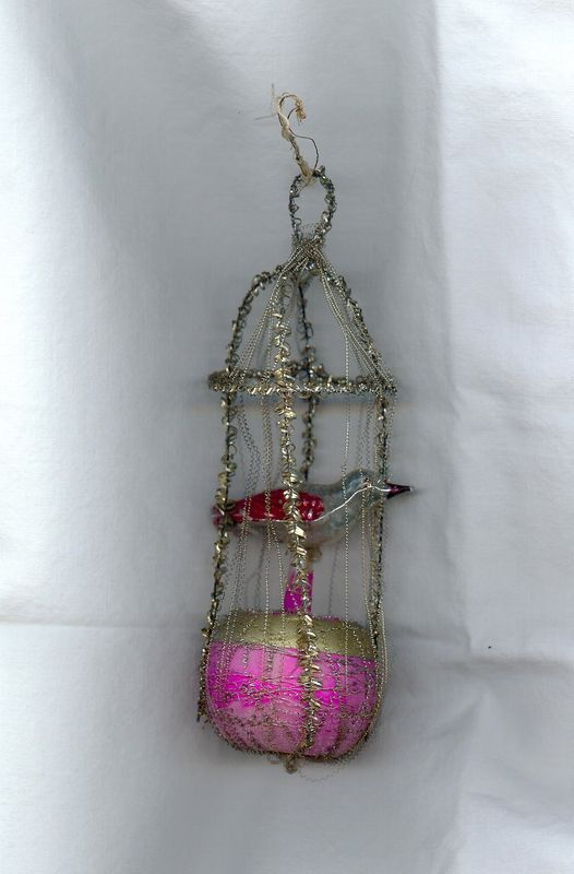 Christmas Victorian glass Wire Wrapped Ornament Made in Germany
