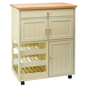 Country Kitchen Freestanding Pantry Cabinet Wine Rack Storage Wooden Work Top