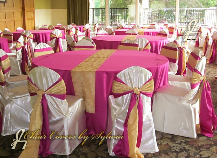 Robin Blue Chair Covers With Fushia Sashes Images Of