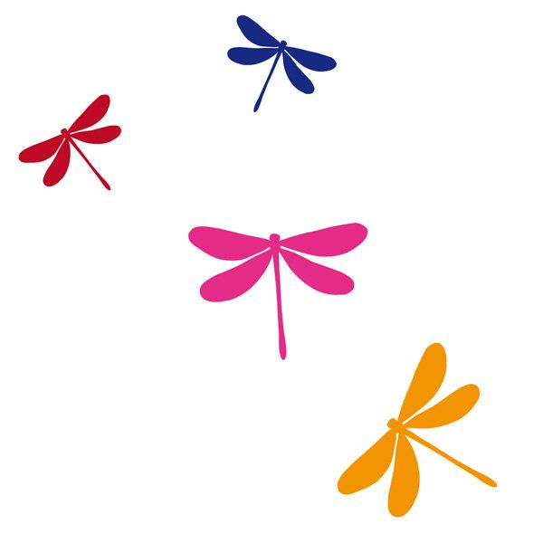 Merveilleux Dragonfly Wall Decal Dragonfly Wall Art Vinyl Wall Sticker Set Of 8 In 4  Colors