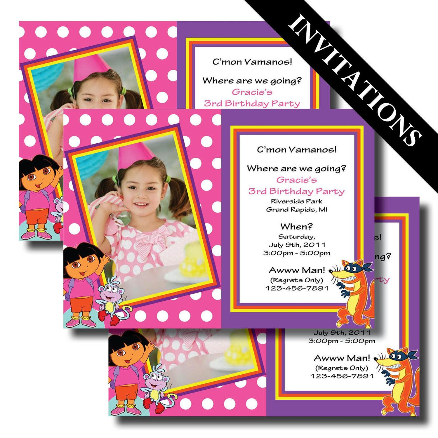 Dora the Explorer, Dora, Dora Invitations, Dora Birthday, Dora ...