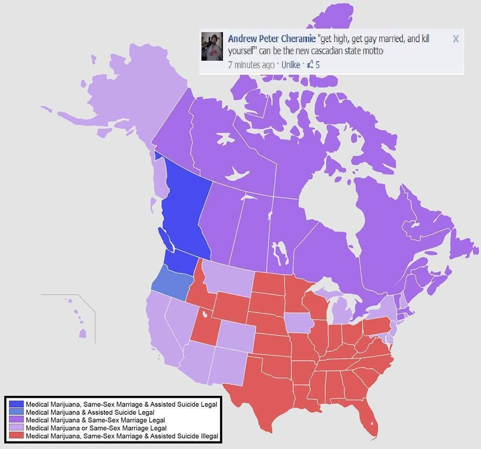 State of legal marijuana and gay marriage throughout North America