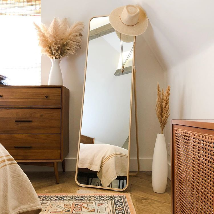 Photo of Minimalist boho bedroom ikea gold wooden curved edged floor mirror ikornnes west…