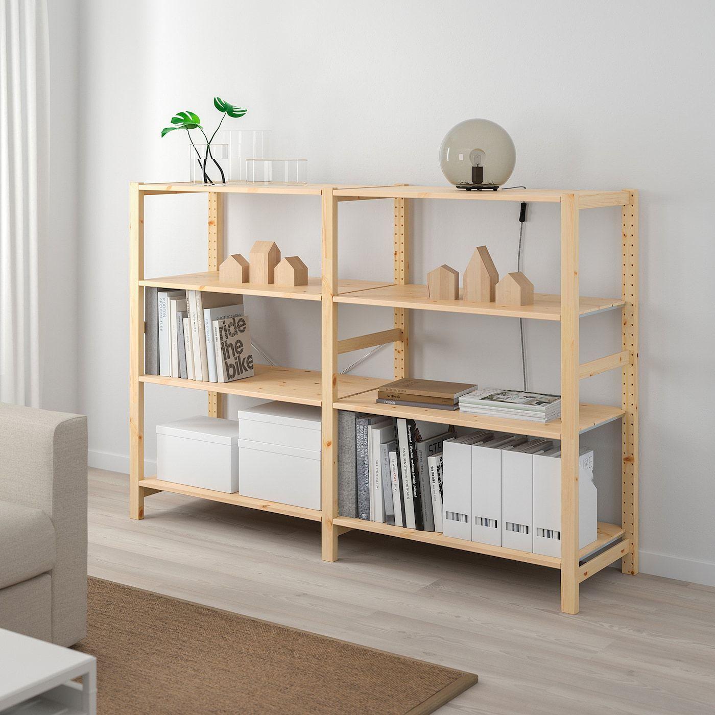 Ivar 2 Section Shelving Unit Pine 68 1 2x19 5 8x48 7 8 In 2020 Shelving Unit Shelves Ikea Ivar