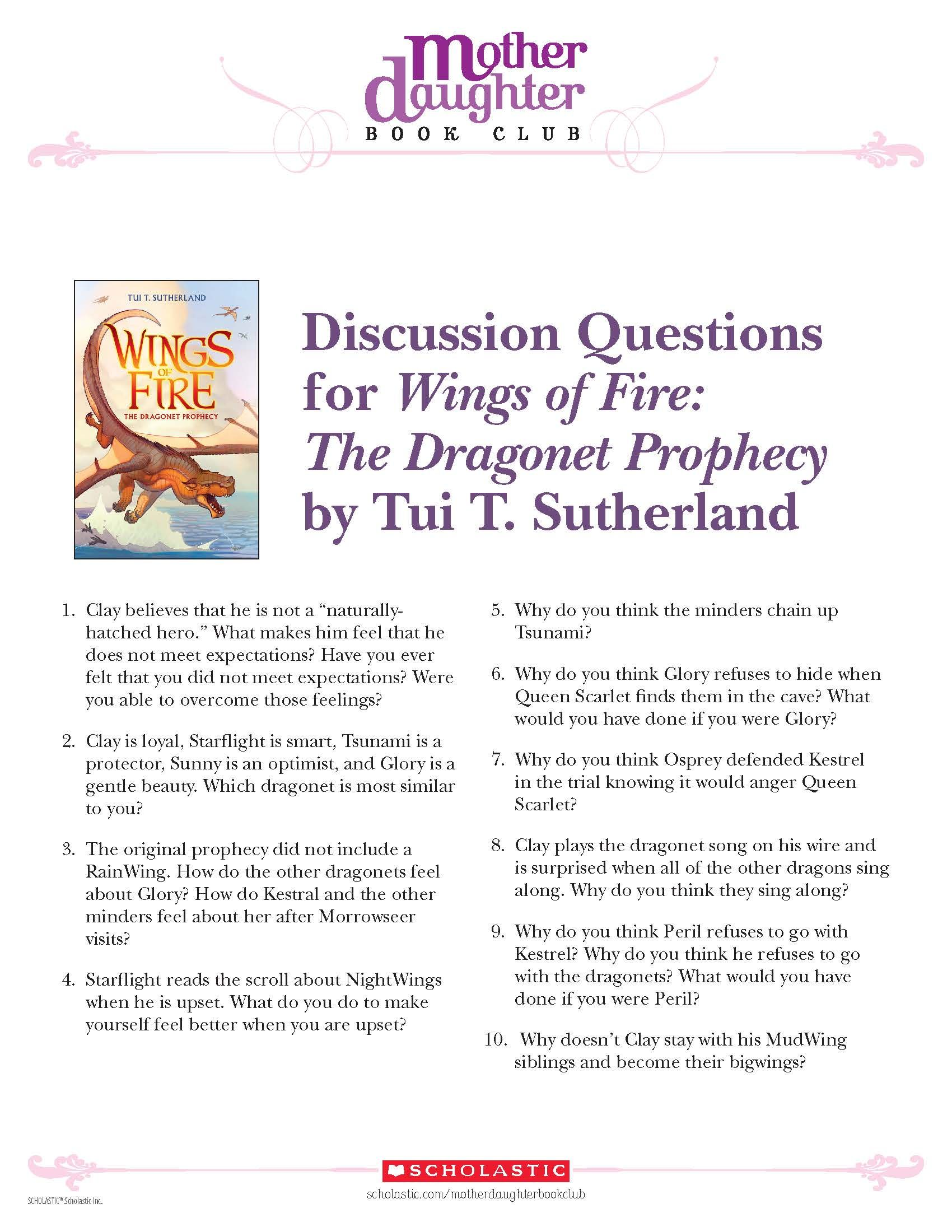 Discussion Questions for Wings of Fire: The Dragonet Prophecy by Tui