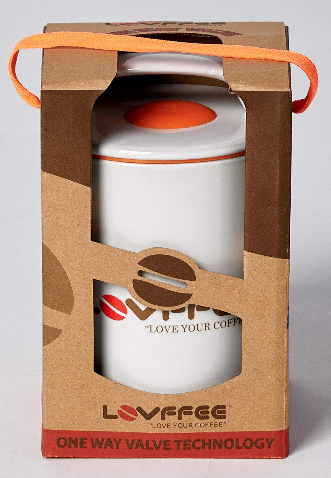 Lovffee White Ceramic Premium Coffee Canister With Scoop Holds 1 Pound Whole Beans Or Ground In Patented Air Vacuum Sealed