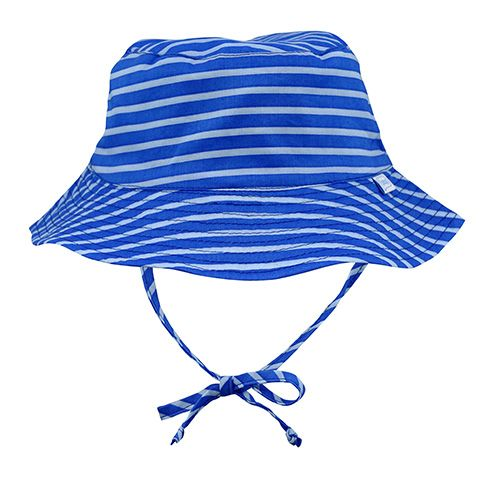 This royal Brights Organic Cotton Bucket Sun Protection Hat offers excellent, everyday sun protection. The organic cotton fabric is all-natural and breathable for your baby!